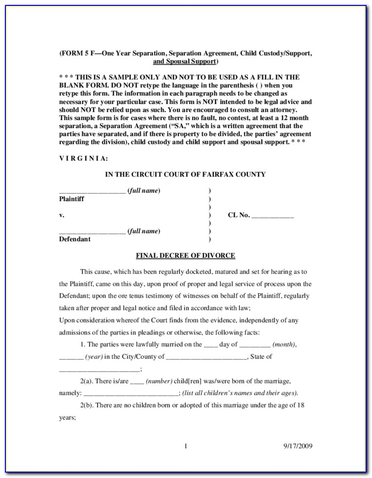 Fairfax County Court Forms