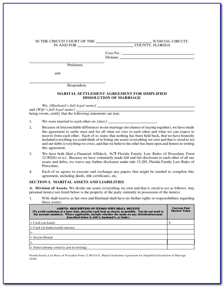Florida Marriage Annulment Forms