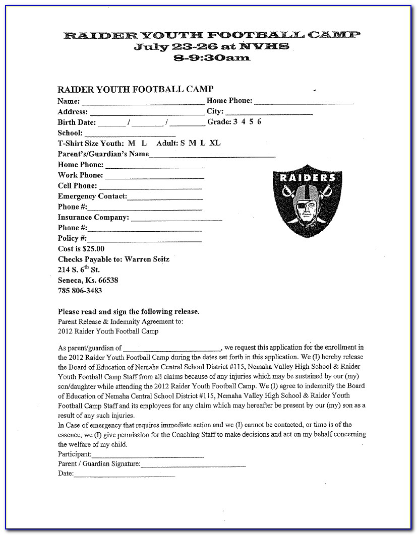 Football Player Registration Form Template Form Resume