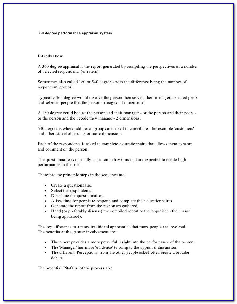 Free 360 Degree Performance Appraisal Form