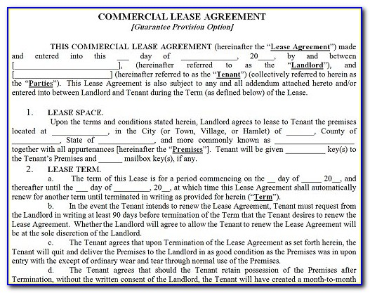 Free Commercial Rental Lease Agreement Form