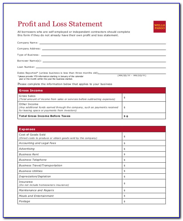 Free Download Excel Profit And Loss Template
