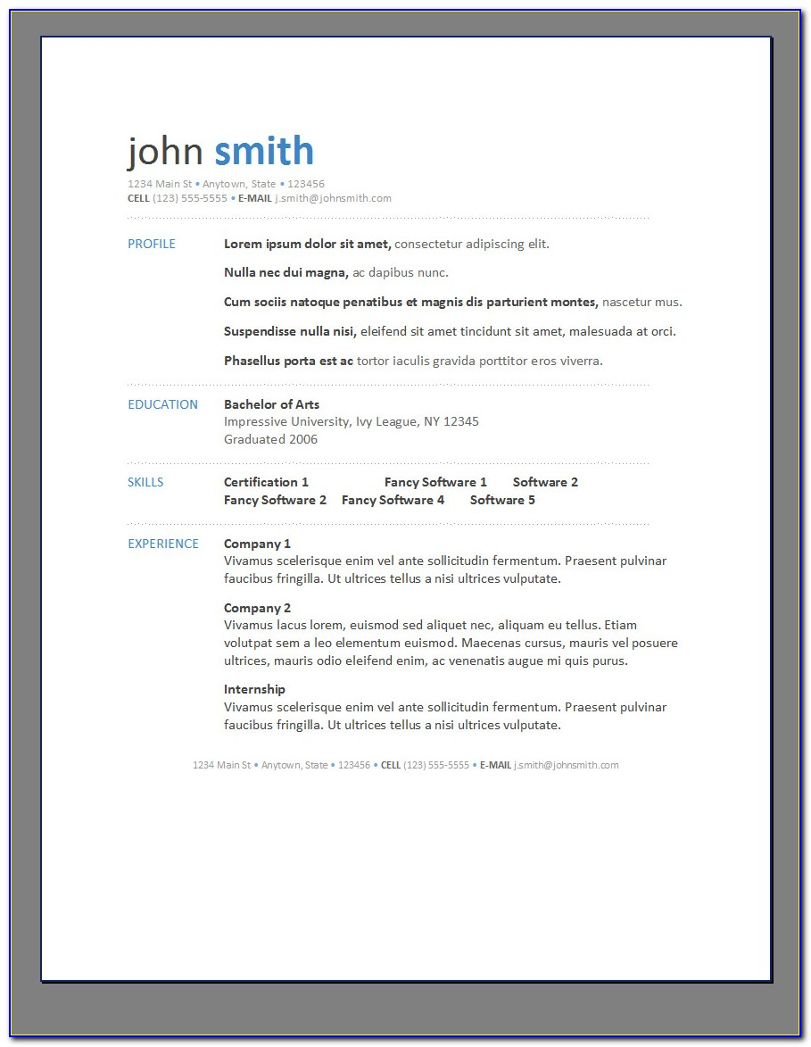 Free Downloadable Printable Resume Templates