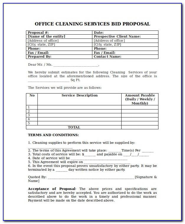 Free House Cleaning Estimate Forms