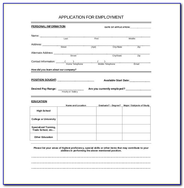 Application Form Template Word Free Form Resume Examples