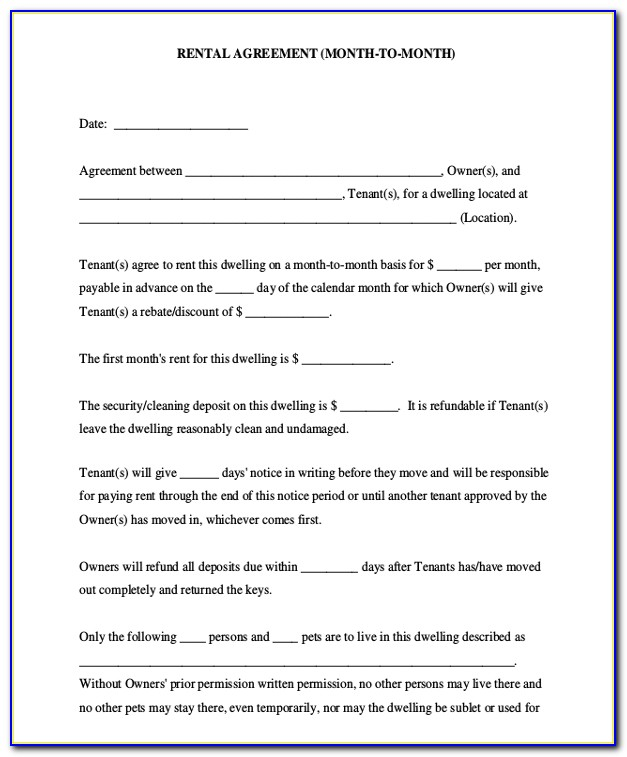 Free Month To Month Room Rental Agreement Forms