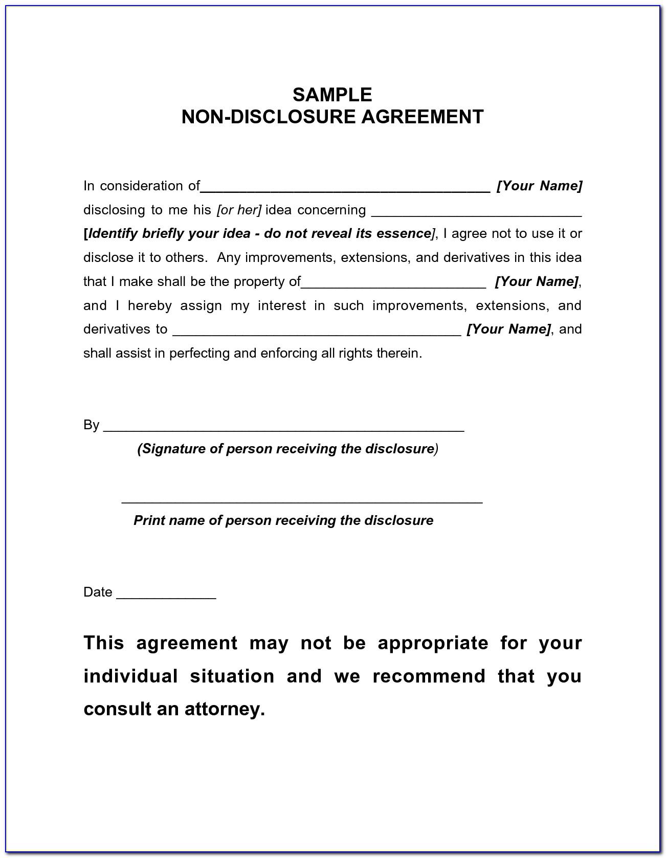 Free Non Disclosure Agreement Form Pdf