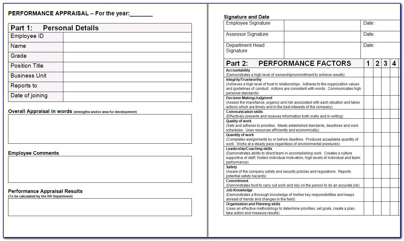 Free Performance Appraisal Form Template