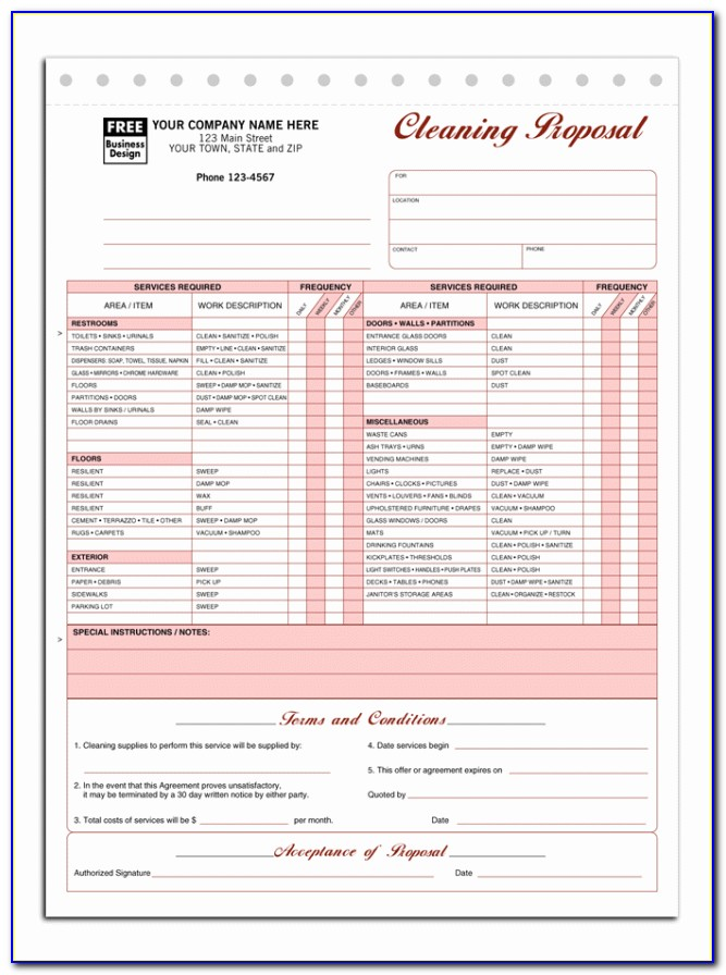 Free Printable House Cleaning Estimate Forms