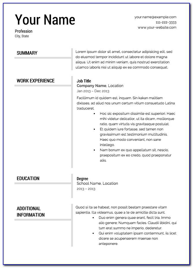 Free Printable Resume Templates Blank