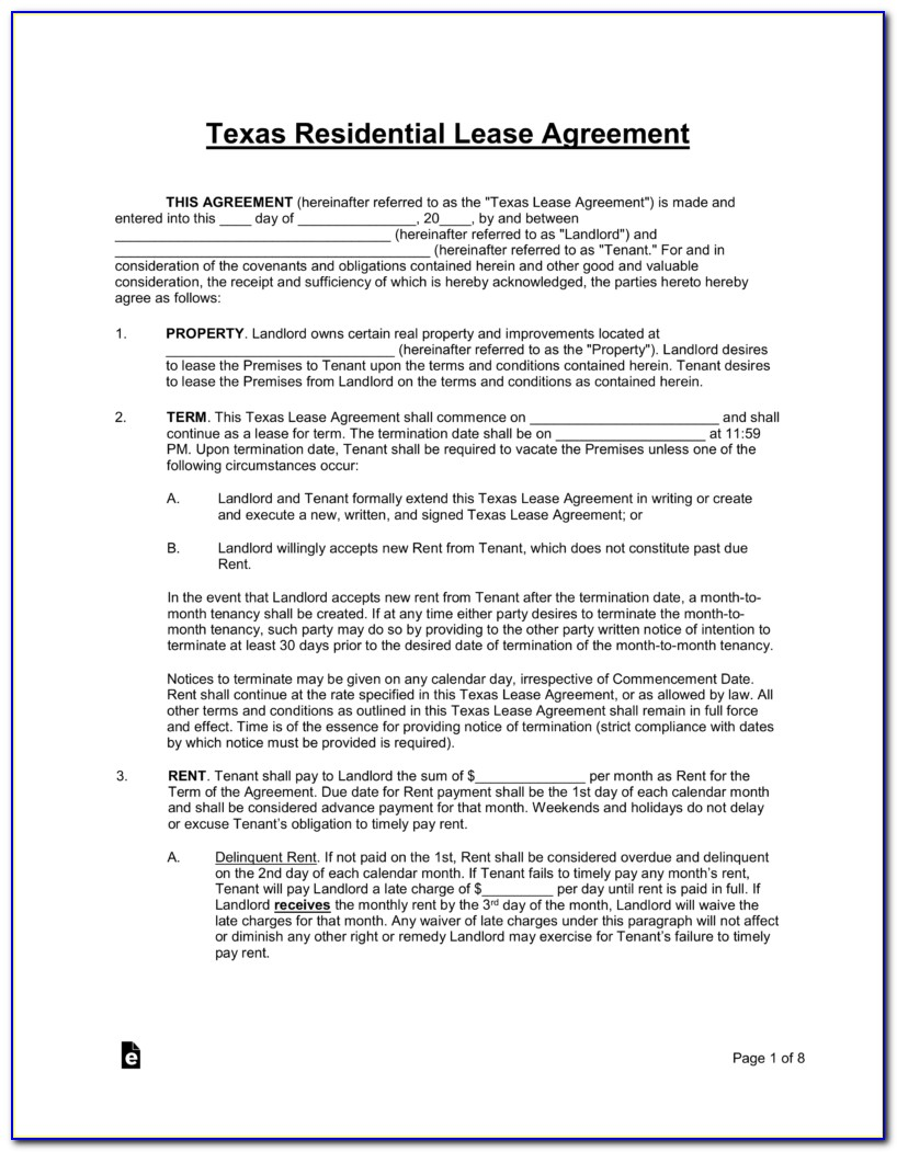 Free Residential Rental Agreement Forms Texas