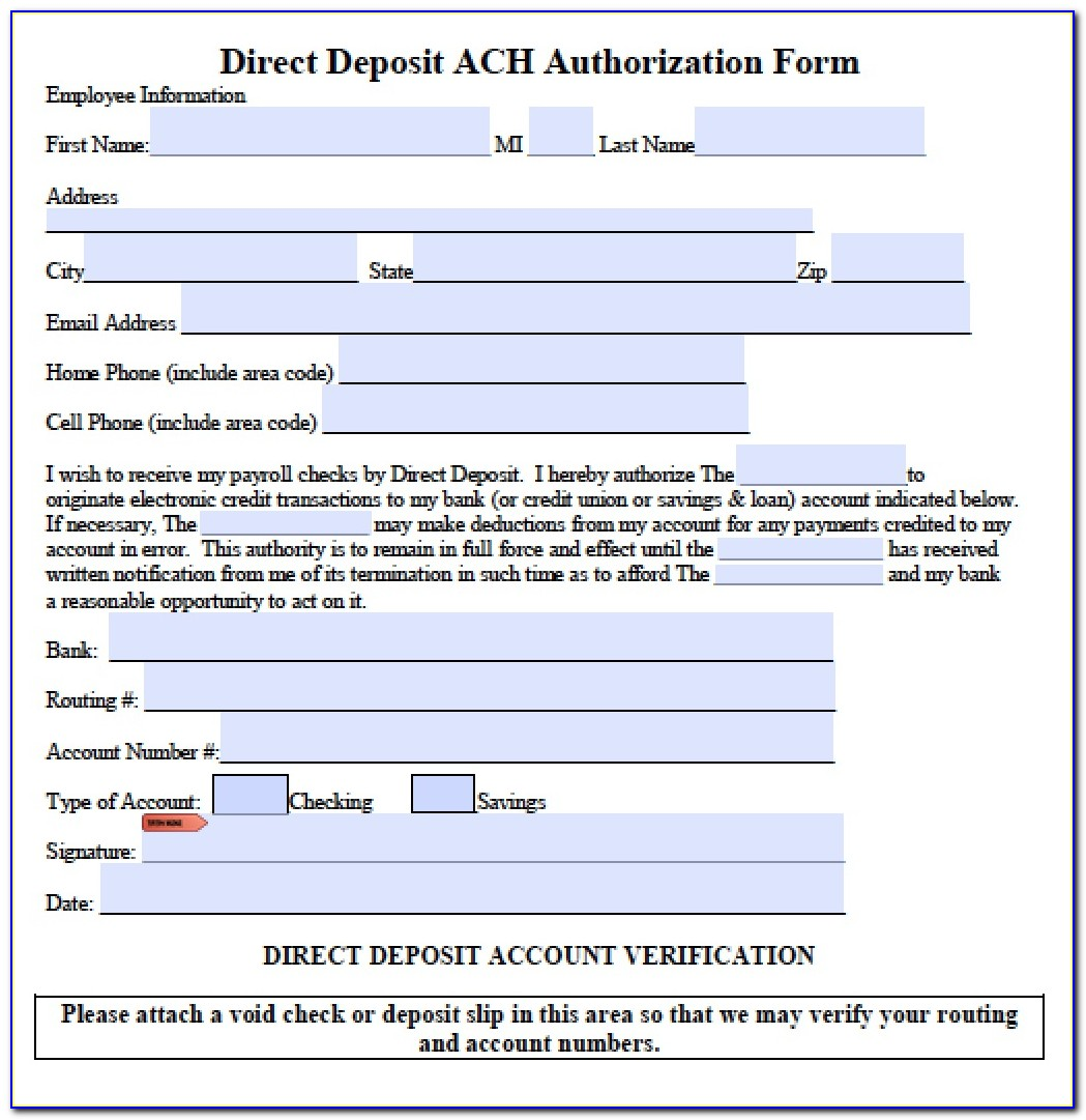 Generic Ach Direct Deposit Authorization Form