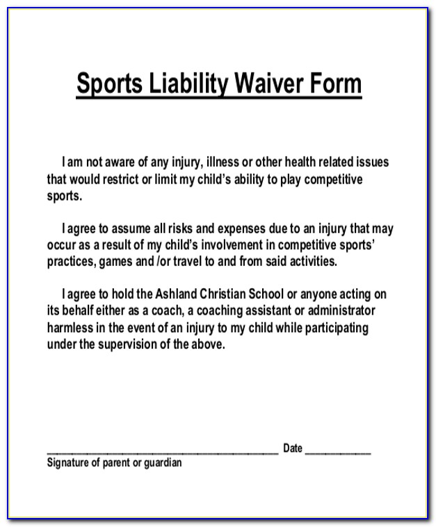 Generic Sports Waiver Form Form Resume Examples Qq5meaa5xg