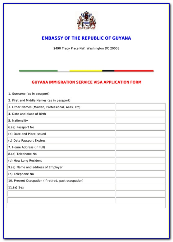 Guyana Police Force Passport Renewal Form