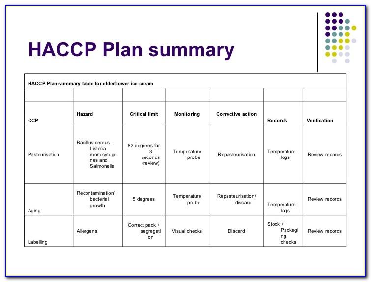 Haccp Plan Form 2