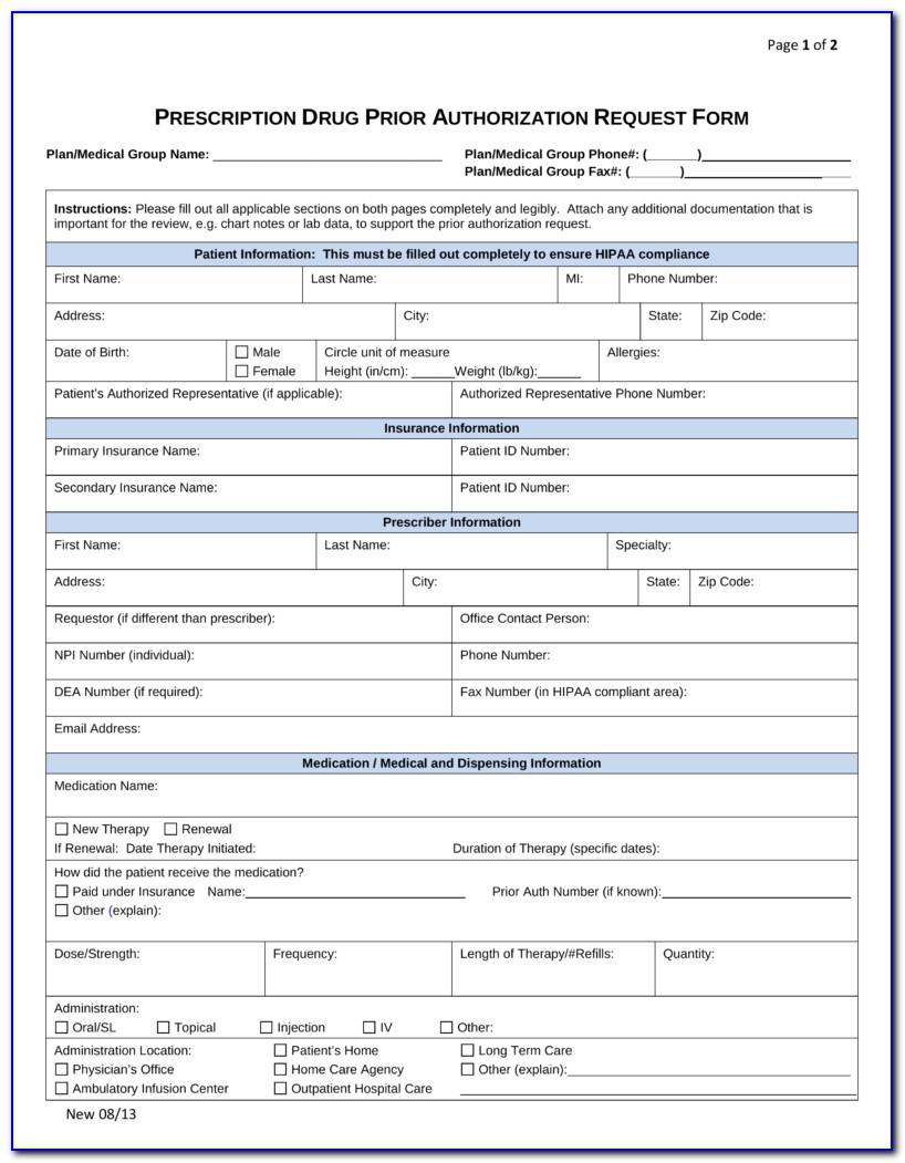Humana Medicare Prior Auth Form For Medication