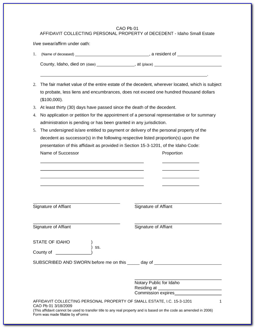 Idaho Probate Forms Free