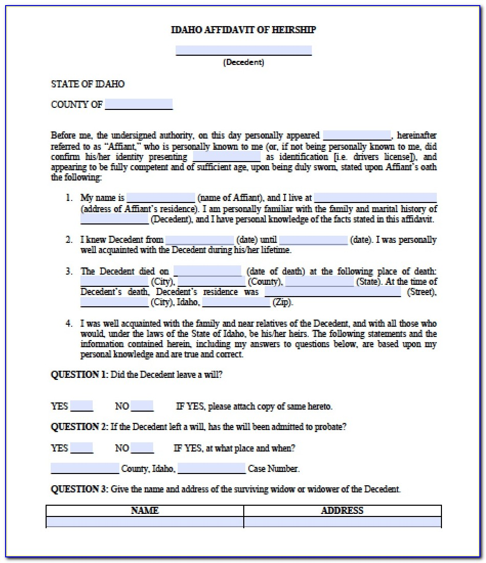 Idaho Probate Forms