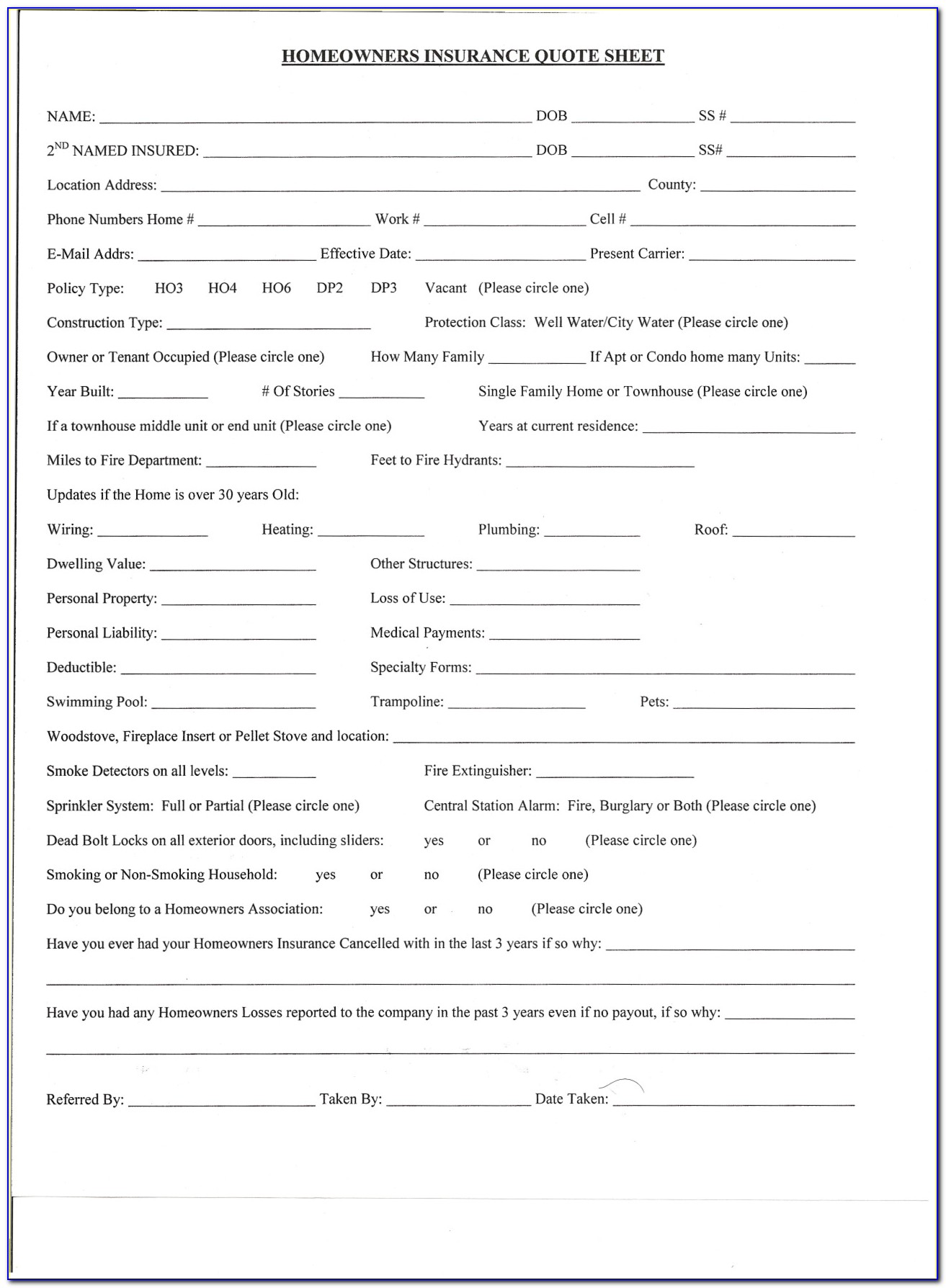 Insurance Quote Form Template