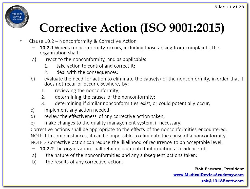 Iso 9001 Corrective Action Form Sample