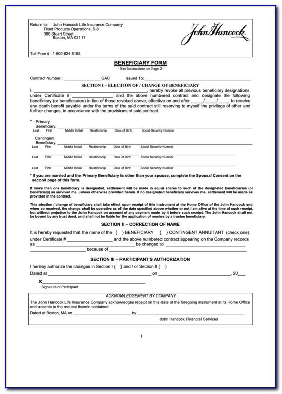 John Hancock Life Insurance Death Benefit Claim Forms