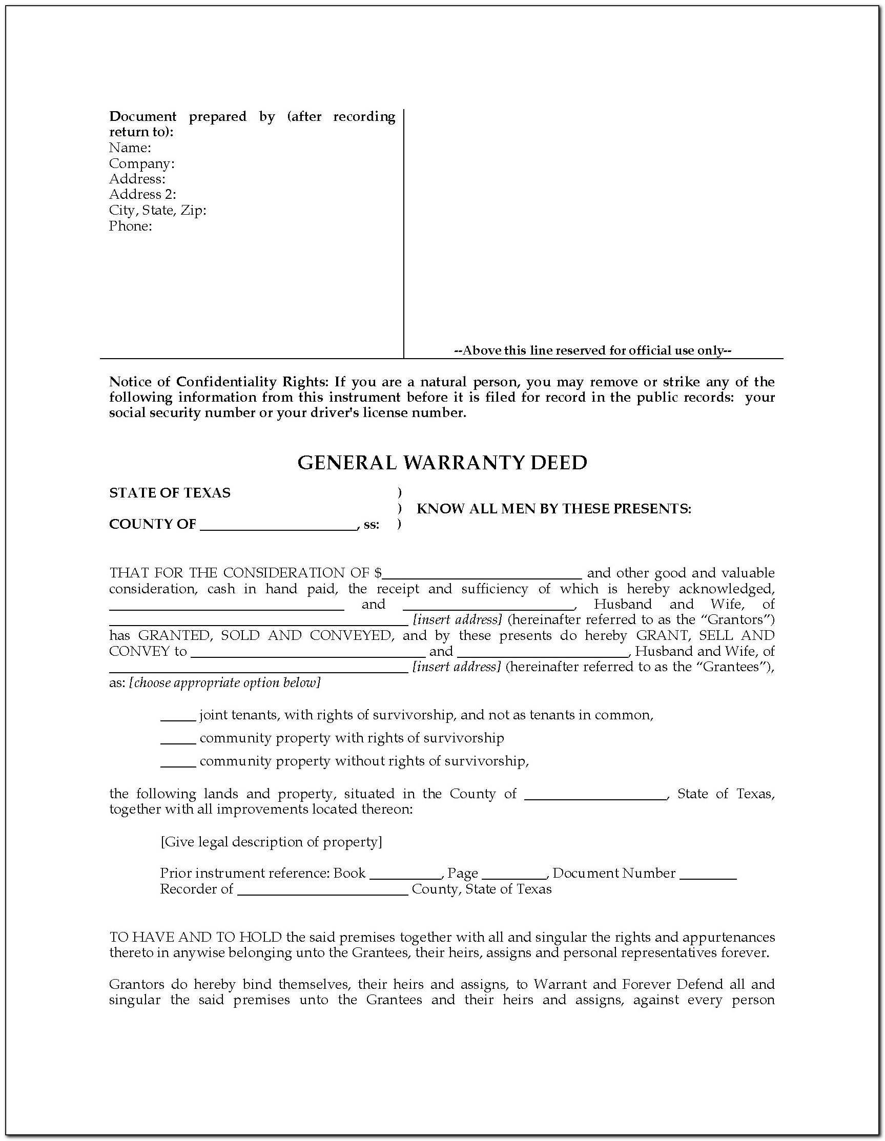 Joint Survivorship Deed Form