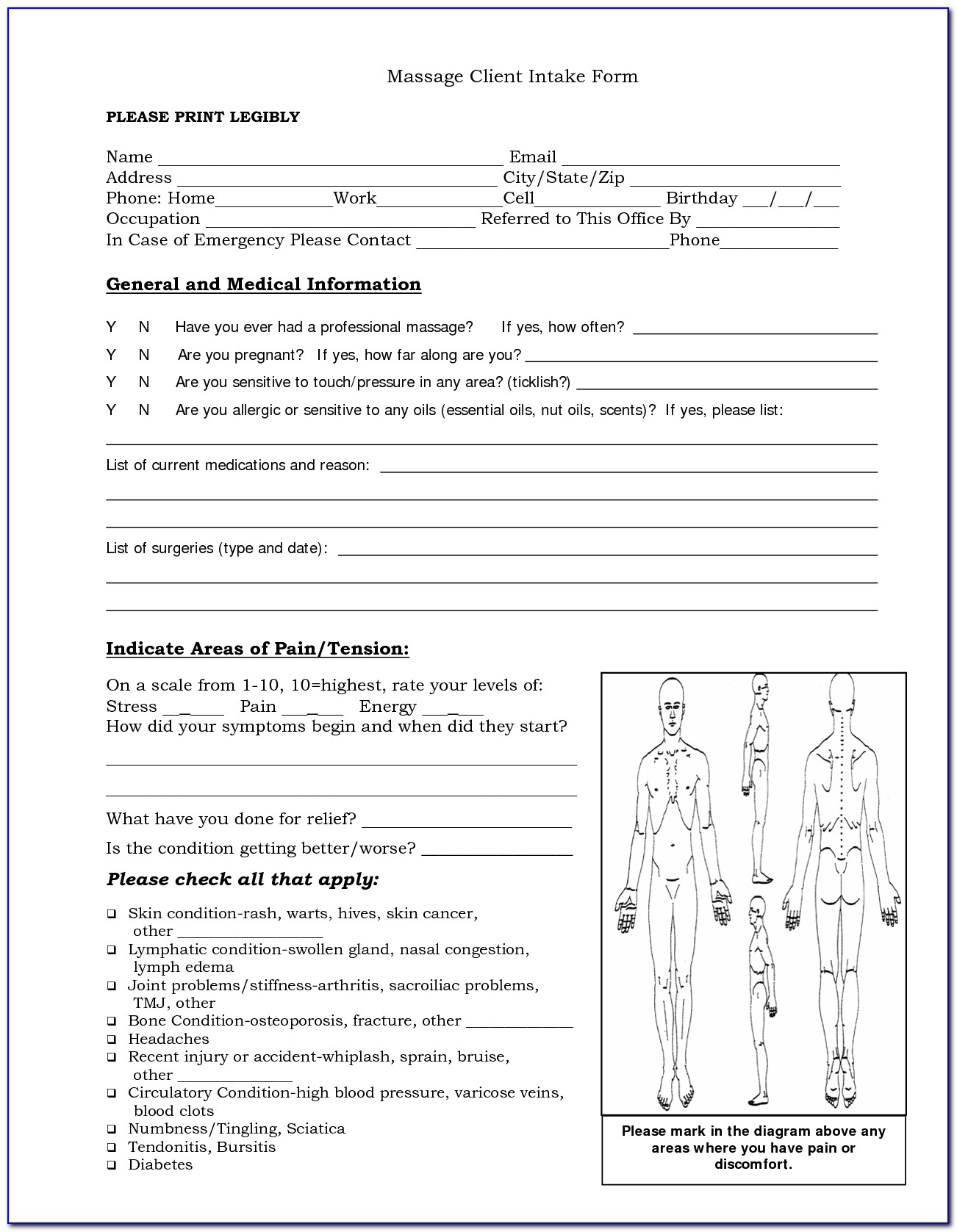 Massage Therapy Client Intake Forms Free