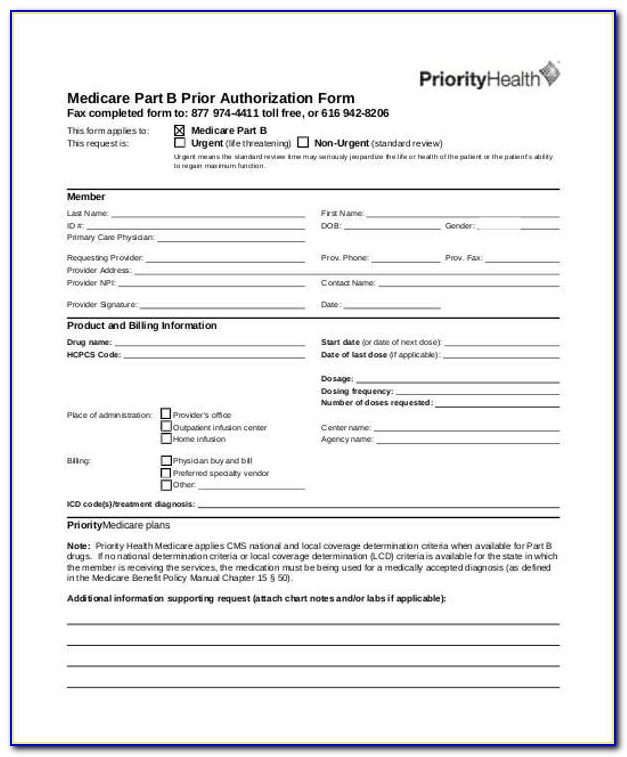 Medicare Part B Prior Auth Form For Medications