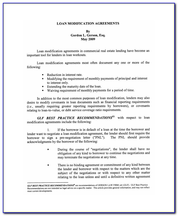 Mortgage Modification Agreement Form