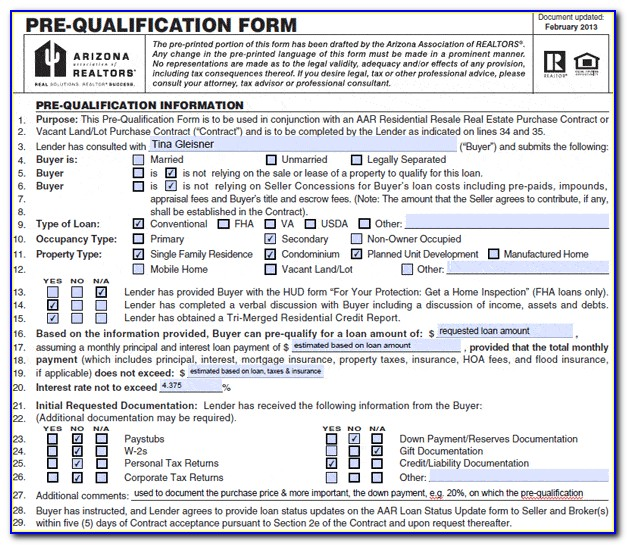 Mortgage Prequalification Form