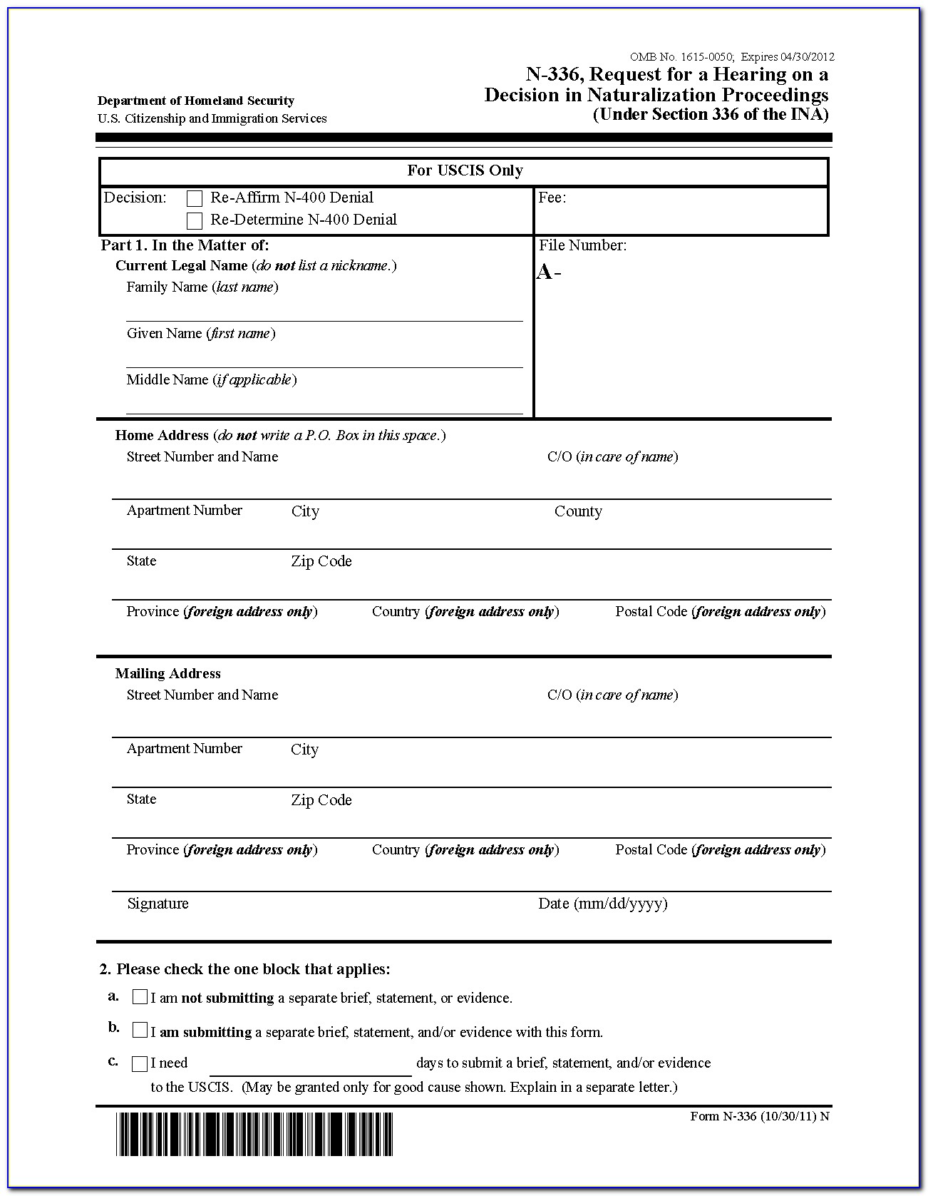 N 400 Form In Spanish