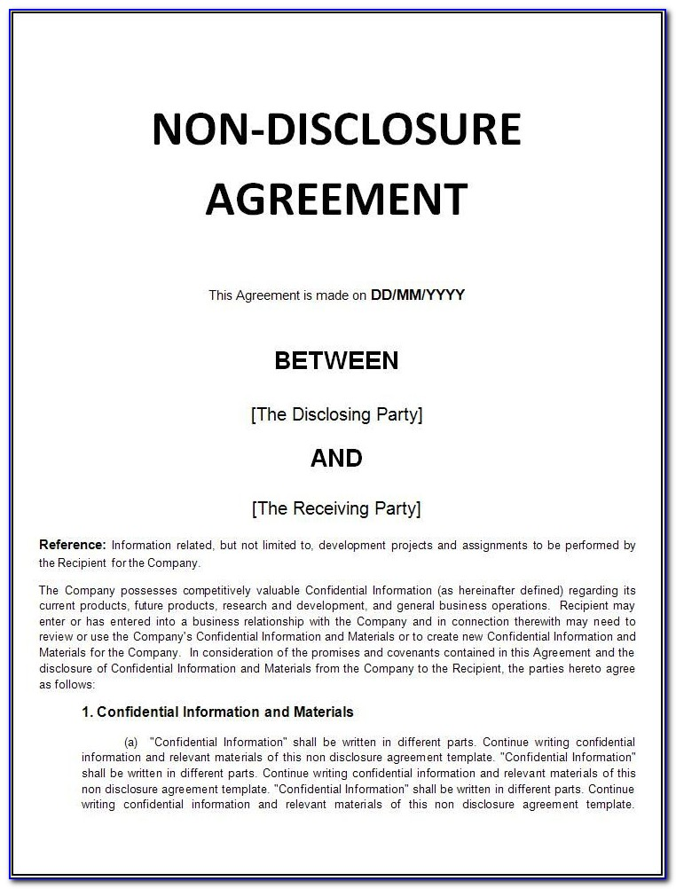 Navy Non Disclosure Agreement Form