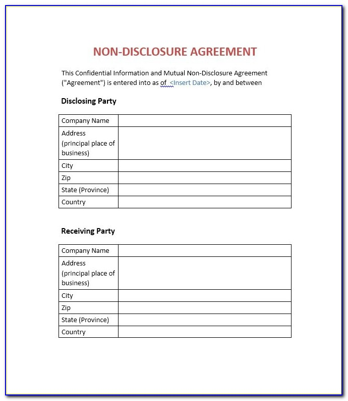 Non Disclosure Agreement Form Free Download