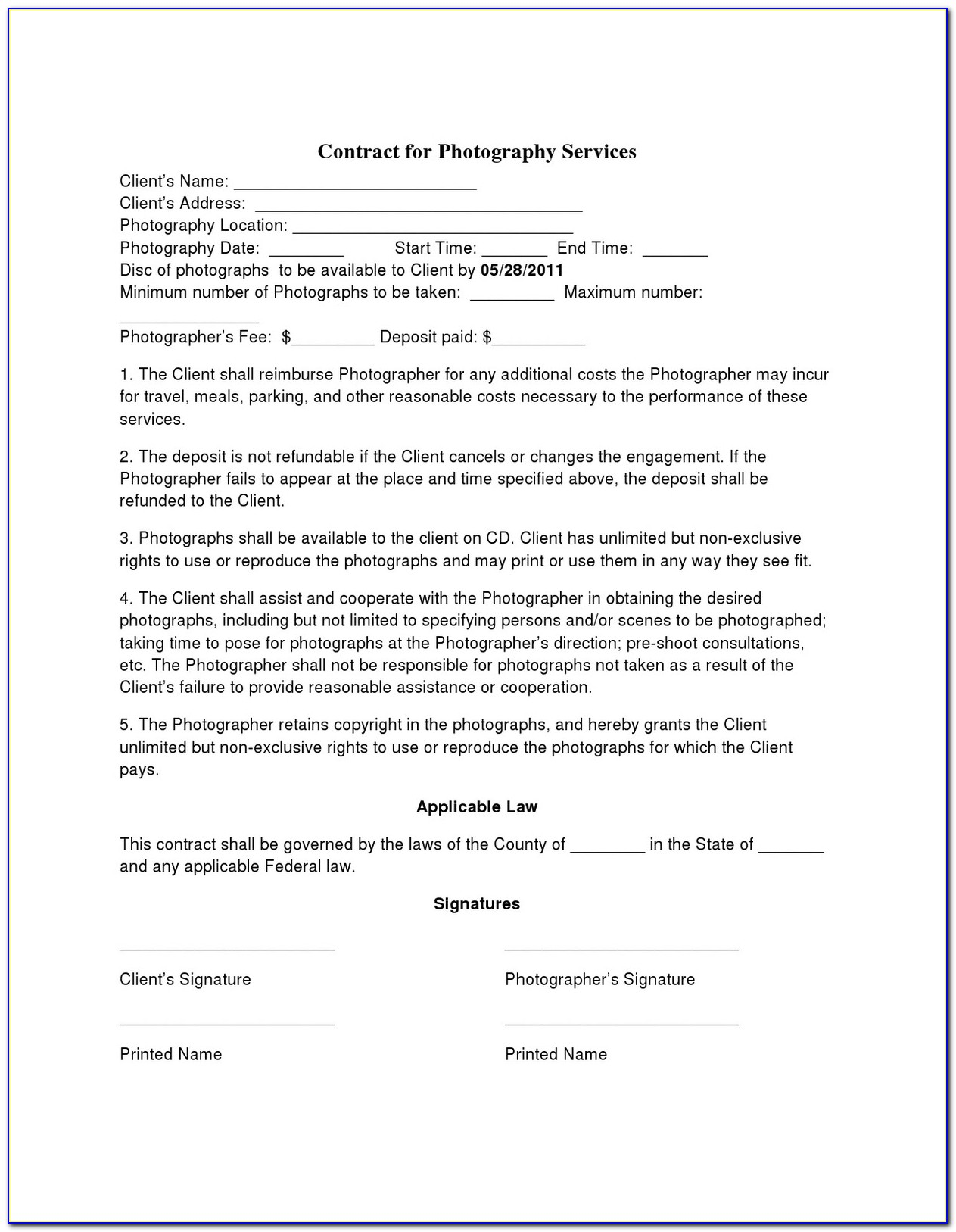 Photography Agreement Form Template
