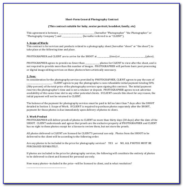 Photography Consent Form Template Nz