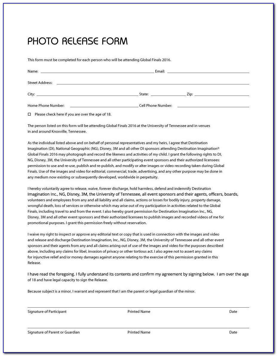 Photography Release Forms Template