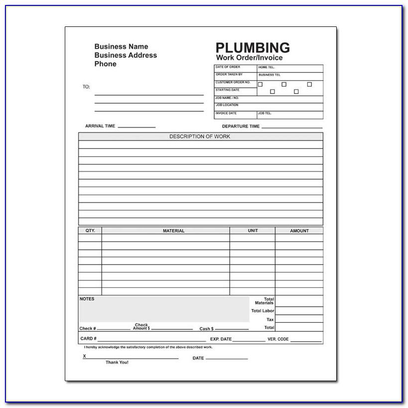 Plumbing Work Order Forms