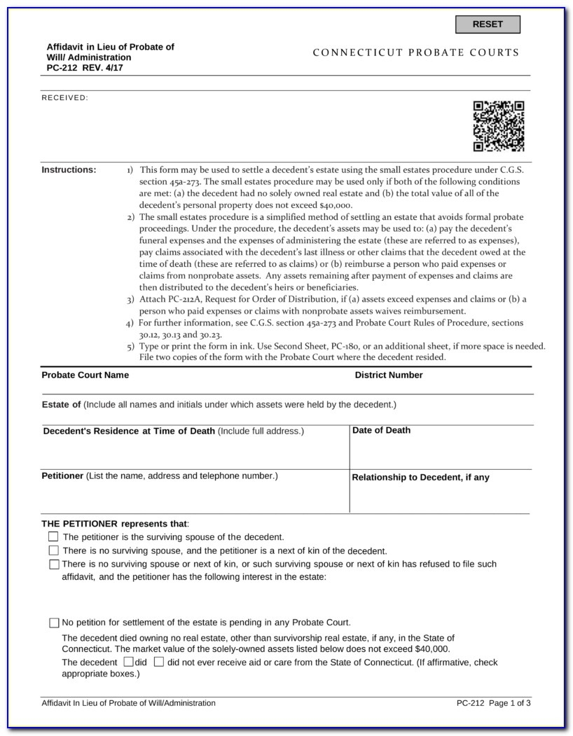 Probate Code 13100 Form
