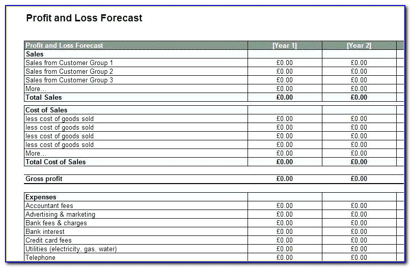 Profit And Loss Account Template For Self Employed