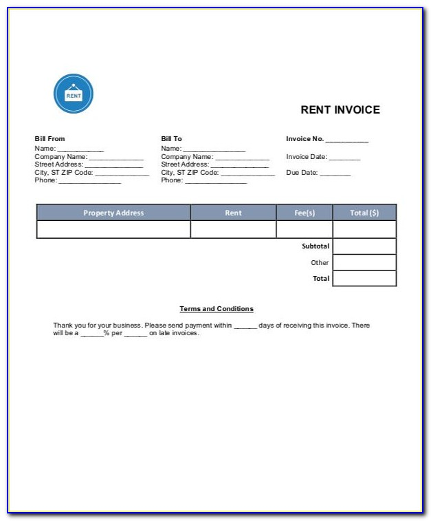 Rent Invoice Format In Word