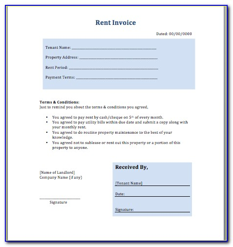 Rent Invoice Format With Gst In Word