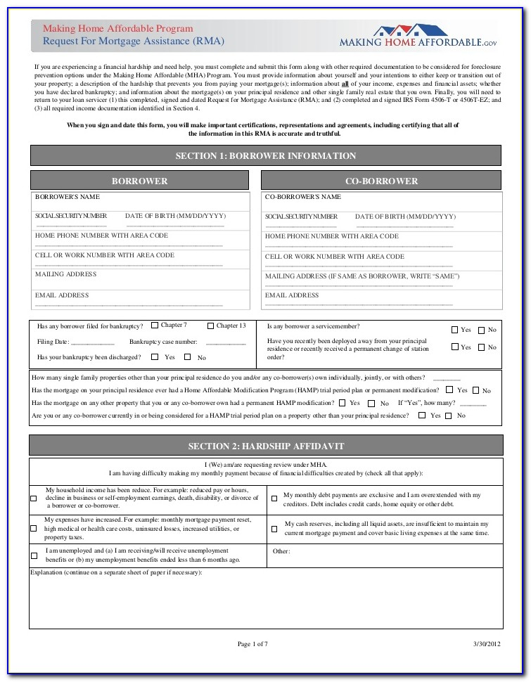 Request For Mortgage Assistance (rma) Form