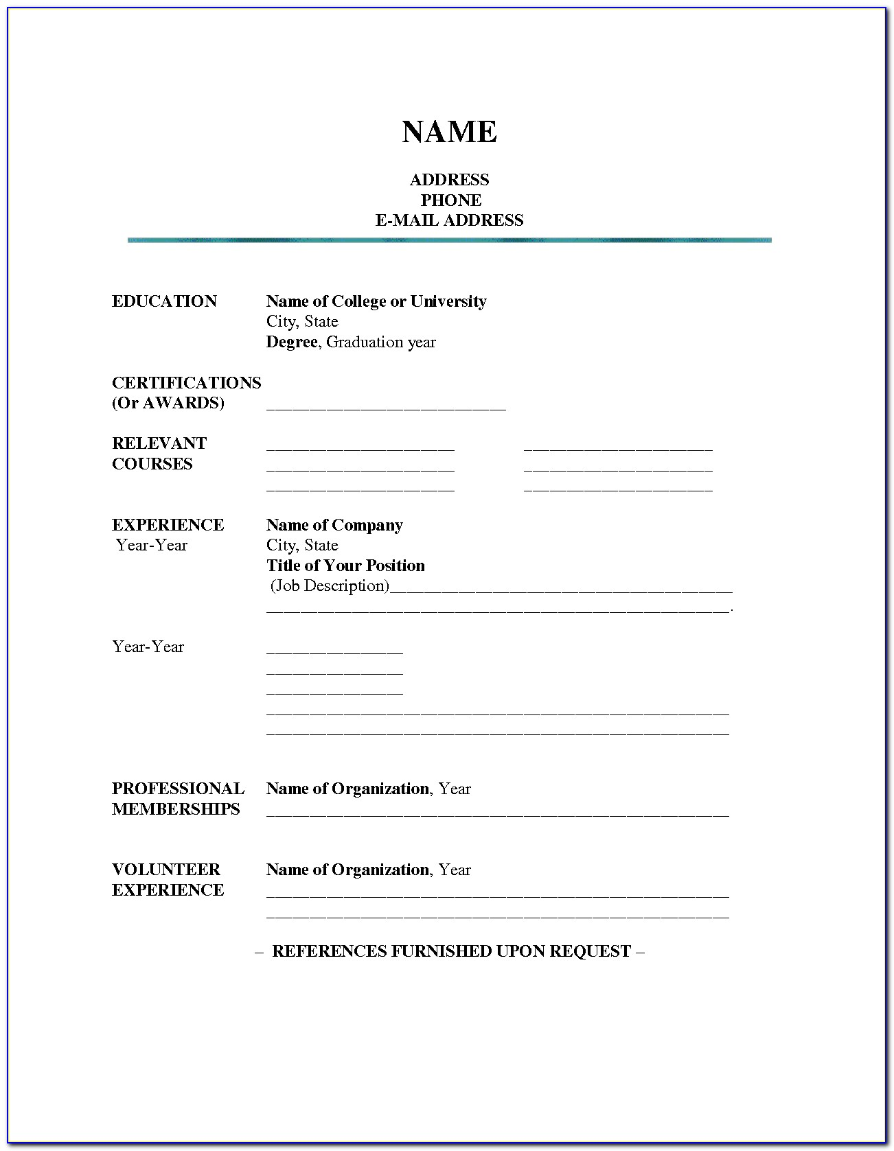 Resume Blank Form Download