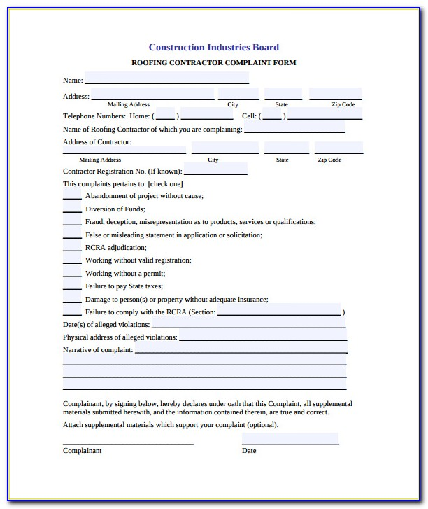 Roofing Contract Sample Form