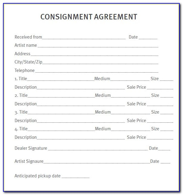 Sample Consignment Contract