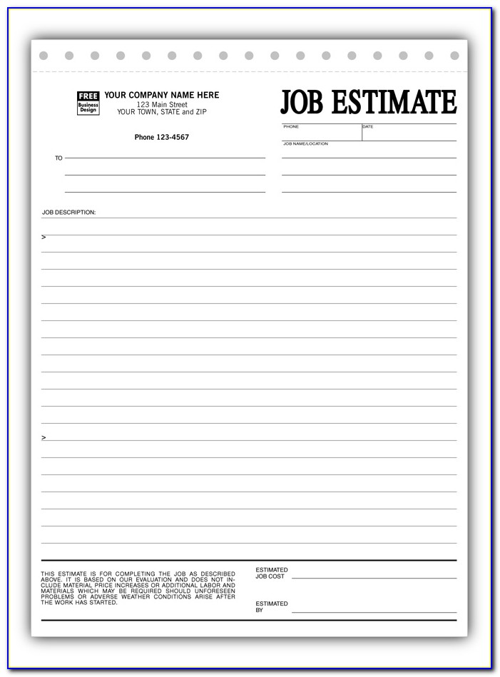 Sample Estimate Forms For Construction