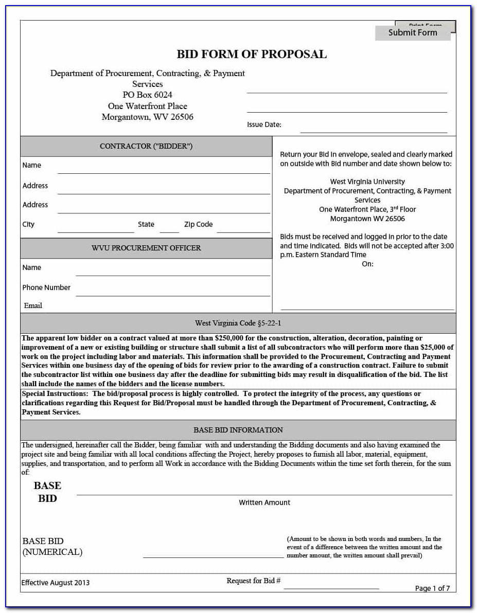 31 Construction Proposal Template & Construction Bid Forms For Construction Proposal Template