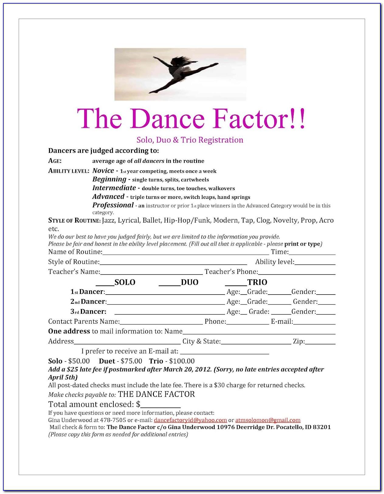 Sample Resume Dance Registration Form Template