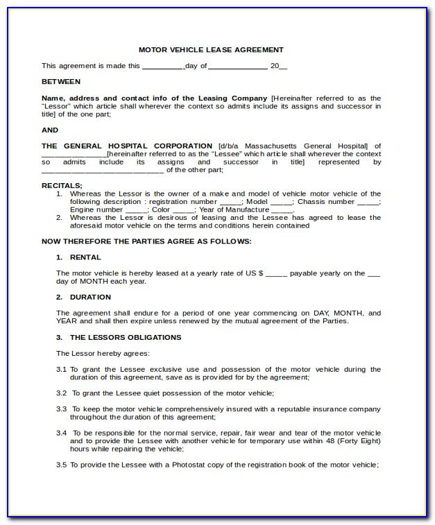 Semi Truck Lease Agreement Form