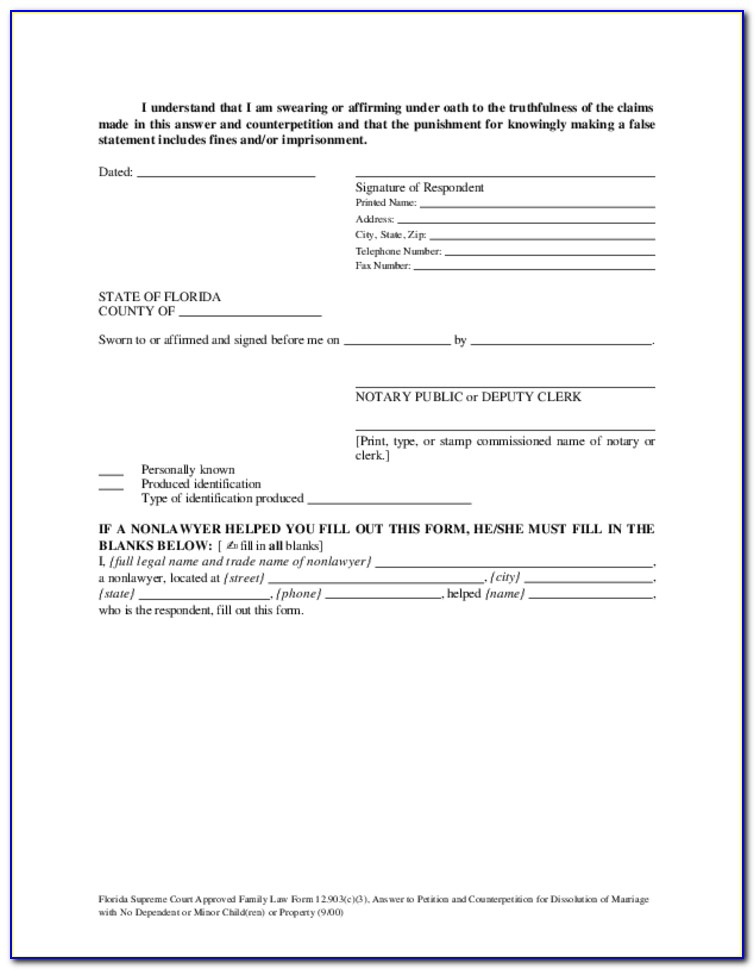 Simple Dissolution Of Marriage Florida Forms